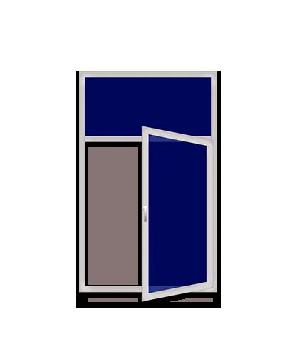 Одностворчатые пластиковые окна с верхней глухой секцией и нижней распашной