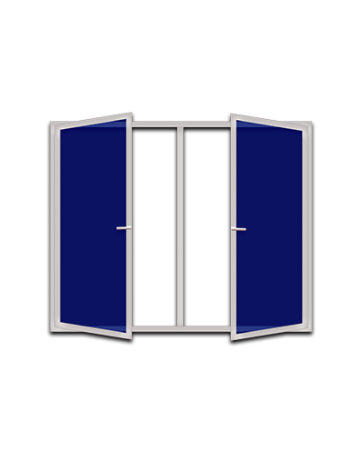 Двустворчатые пластиковые окна с двумя поворотными створками